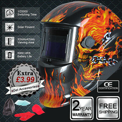 Arc Tig Mig Auto Darkening Solar Powered Welding Helmet Mask Welders Grinding UK