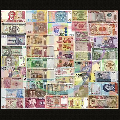 World 50 PCS Uncirculated Banknotes Set 20 Different Countries Genuine Lot UNC