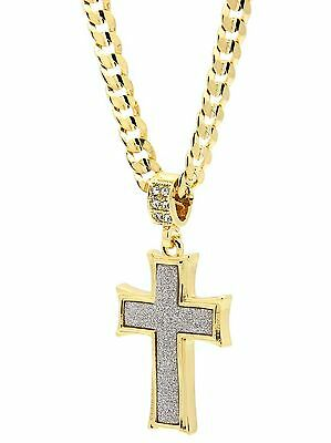 """Mens 14k Gold Plated Stardust Curved Cross Thick Pendant Hip-Hop 24"""" Cuban Chain"""