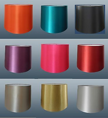 "12"" Empire Drum Silk Fabric Lampshade Lamp & Ceiling Light Shade - In 10 Colours"
