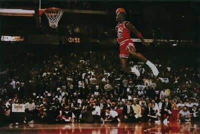 Michael Jordan Famous Flying Dunk from Free Throw Foul Line 24x36 Poster Print