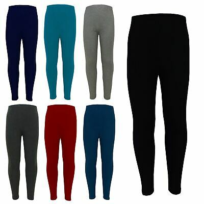 Girls Legging Kids Plain Viscose Fashion Dance School Leggings Age 2-13 Years