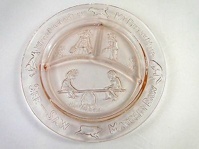 Vintage Pink Depression Glass Childs Divided Plate See Saw Marjory Daw