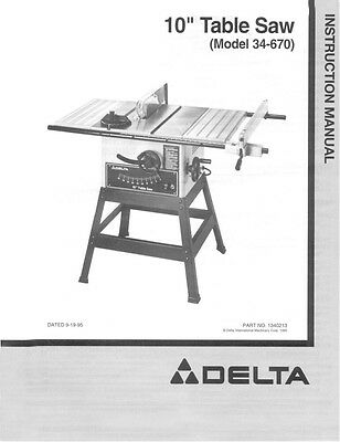 delta ts300 10 table saw instruction manual 16 99 picclick rh picclick com Delta Table Saw 200 Delta Shopmaster Table Saw Review