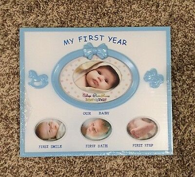 "My First Year Baby Boy Picture Frame 9""x7 3/4"" For 4 Photos New *FREE SHIP*"