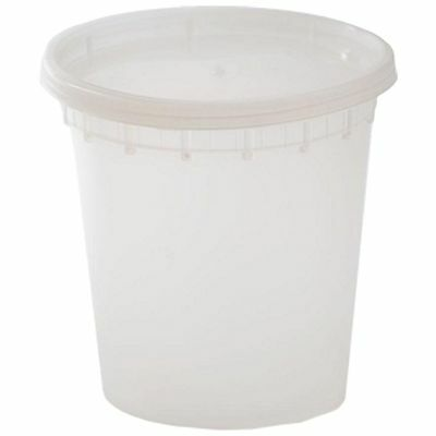 48ct 24 oz DELItainer Microwaveable Clear Plastic Deli Soup Containers With Lids