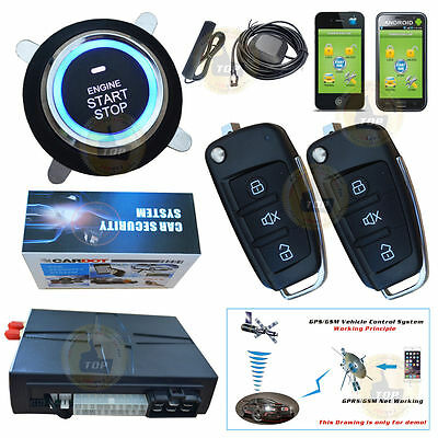 GPS&GSM Real Online Tracking Android iOS SMS Smart Car Alarm Start Push Button