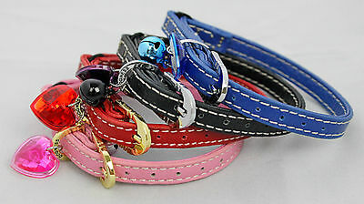Leather Cat / Kitten Collar, Safety Elastic, Bell, (Optional Engraved I:d Tag)