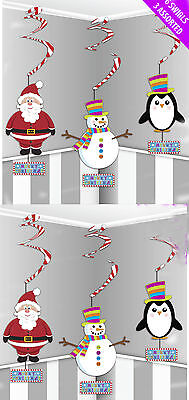 6 x christmas hanging decorations swirls penguin santa snowman FREE P&P