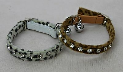 Cat Kitten Collar Diamante Crystal Rhinestone Safety Elastic Animal Print Bling