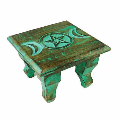"Mini Antiqued Wooden Triple Moon Goddess Pentagram Altar Table 6""x6"" Wicca Pagan"