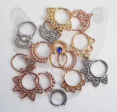 Ornate Indian Tribal Clicker Septum Ring Captive Bar Nose Piercing Ethnic 16G