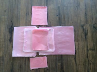 "3"" x 5"" Premium Flat Pink Anti-Static Poly Bags 2MIL Hard Drives Electronics"