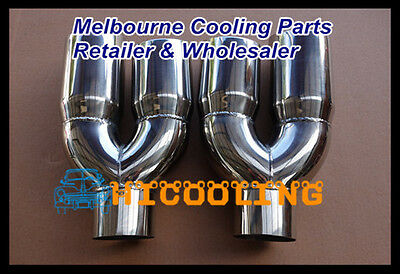 """3"""" inlet Stainless double round outlet slanted angle cut Exhaust Tip 12"""" long"""