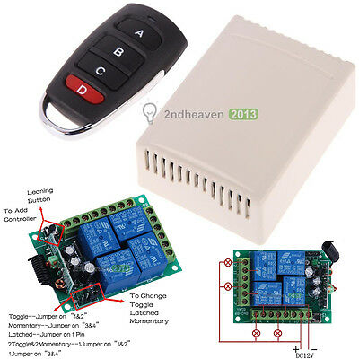 12V 4CH 10A Learning Code Relay Receiver with Digital Wireless Remote Control