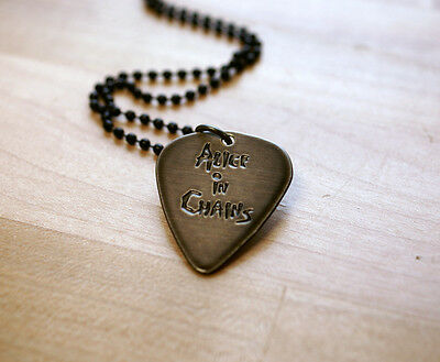Hand Made Etched Guitar Pick Necklace - Alice in Chains - Black Chrome