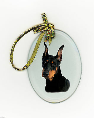 DOBERMAN Oval Glass Ornament Suncatcher DOG