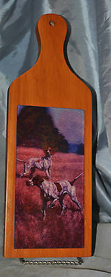 Pointer Solid Wood Cheese Board with Glass Insert Dog
