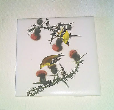 "Goldfinch l 4.25"" X 4.25"" KILN FIRED CERAMIC TILE Bird"