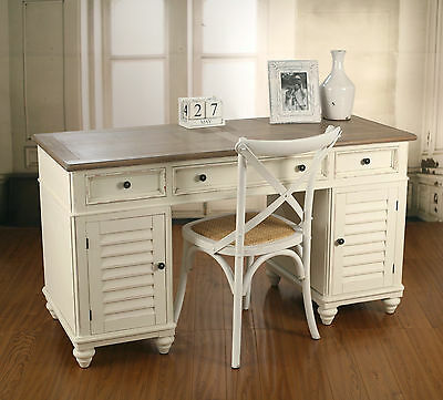 French Provincial Desk Antique 'Plantation' Style Antique White Work Station NEW