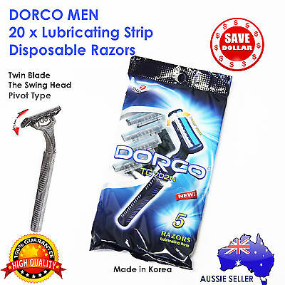 20x Disposable Razors Blades Shaving Shaver Pivot Gillette Swing Bulk DORCO Men