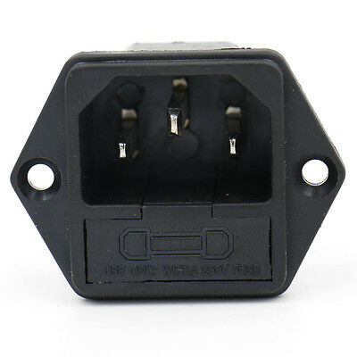 IEC C14 Plug AC Power Inlet Panel Sockets with Fuse Holders 2 PCS