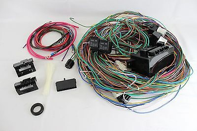 complete universal 12v 24 circuit 20 fuse wiring harness wire kit 12v 24 circuit 15 fuse street hot rat rod wiring harness wire kit complete