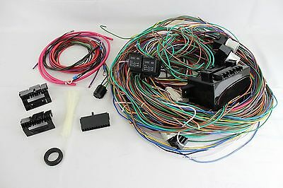 complete universal v circuit fuse wiring harness wire kit 12v 24 circuit 15 fuse street hot rat rod wiring harness wire kit complete