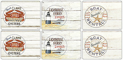 Pimpernel Coastal Signs Placemats Set of 6 Tablemat Table Mat Dining Lighthouse