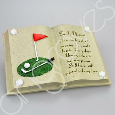 Sadly Missed Golf Themed Graveside Memorial Book Plaque Ornament Grave Tribute