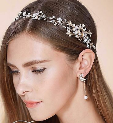 Bridal Wedding Rhinestone Crystal Flower Pearl Gold Hair Headband Tiara