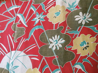 Vintage French Mid Century Abstract Cotton Floral fabric ~Red Yellow Brown Green