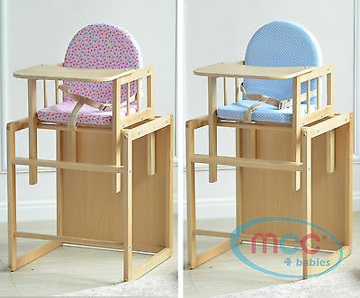 MCC® Brand New 3 In 1 Baby Wooden High Chair & Play Table Cushion & Harness