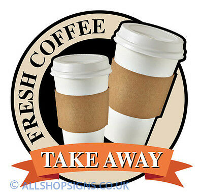 FRESH COFFEE TO GO TAKE OUT Catering shop Sign Window sticker Cafe Restaurant