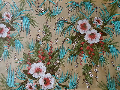 Vintage Hibiscus Floral Cotton fabric ~ Turquoise Aqua Red on Deep Tan ~ Concord