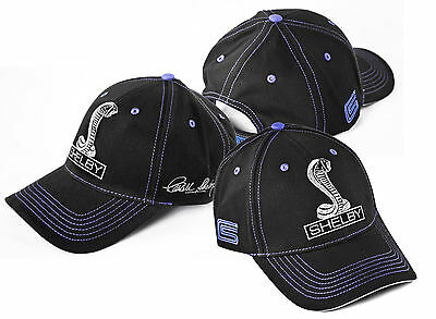 Carroll Shelby Signed Signature Black & Blue Cotton Hat GT500 GT350 Cobra Logos