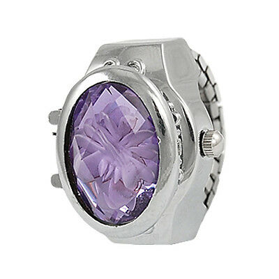 New Stretch Band Flower Inlay Hunter Case Finger Ring Quartz Watch For Lady FS