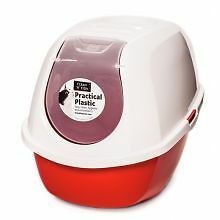 PET-65532 Smart Cat Hooded Loo - Stone Red