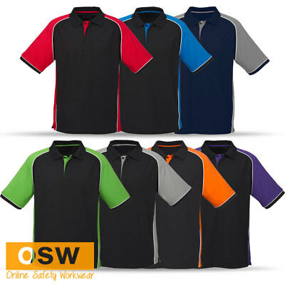 Mens/ladies Cotton Pique Knit Contrast Panels Stylish Office Work Polo Shirt