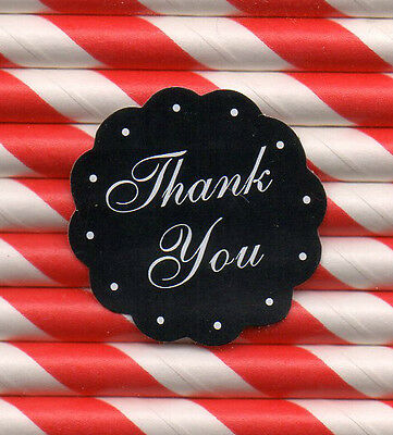 10 x Thank You stickers  Black Self-adhesive label
