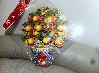 "New Chinese New Year Paper Lantern 3D Lucky Orange 12"" H"