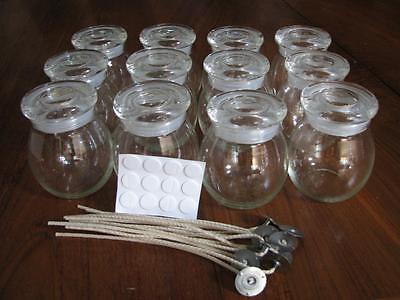 Box of 12 - Small Glass Bulb Pots For Candle Making + Wicks Stickums Warning Lab