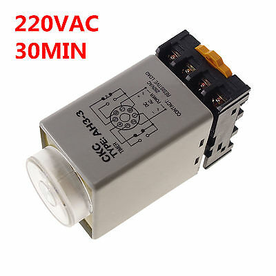 220V 0-30 min Power On Delay AH3-3 Timer Relay With Socket Base PF083A