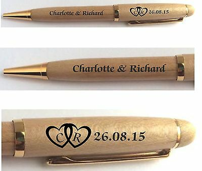 Personalised Names & Initials Wooden Pen, Wedding,celebration Guest Book Signing