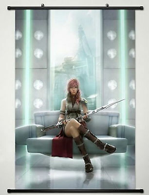 Anime Final Fantasy Wall Scroll Poster Fabric Painting Lightning Home Decor
