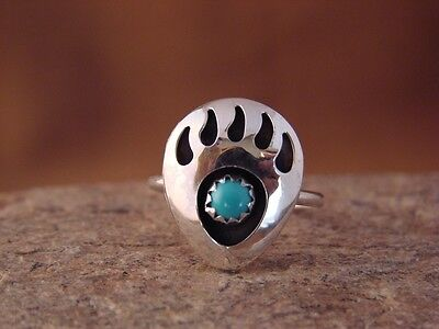 Navajo Indian Sterling Silver Turquoise Bear Paw Ring! Size 7.5! T0122