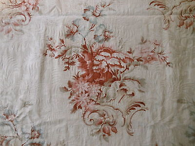 Antique French Floral Cartouche Damask Cotton Fabric ~Tawny Blush Rose Gray Blue