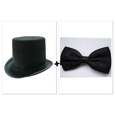 Black Top Hat & Bow Tie Magician Wedding Party Dance Formal Costume Dress