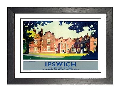 Ipswich 2 British Railway Old Retro Vintage Rail Advert Manor Picture Poster