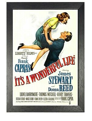 Its A Wonderful Life Classic Vintage Film Retro Picture Old Movie Advert Poster